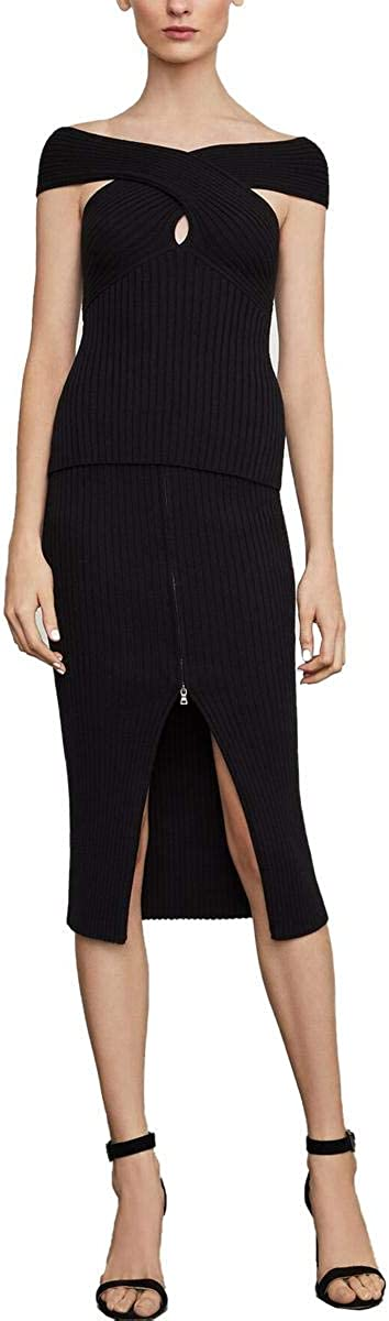 BCBGMAXAZRIA Womens Bryna Ribbed Off-The-Shoulder Pullover Sweater