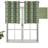 Cortinas cortas, con bloqueo de luz, diseño Groovy Bauhaus con motivos artísticos funky geométricos, minimalistas, retro, estilo inusual, juego de 1, 132 x 45 cm para ventana de sala de estar