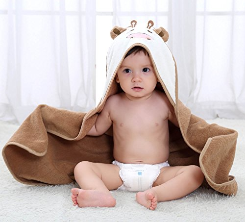 Serviette de bain bebe, Chickwin Cute Animal 100% coton naturel Wrap Gant de toilette doux pour bébé douche après bain Cuddle 'n sec, grand 80 * 80 cm Taille (Marron)
