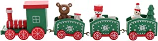 TAKEFUNS Christmas Train Painted Wooden Christmas Decoration Kid Gift Toys,Xmas Table Top Ornament,Mini Locomotive Embelli...