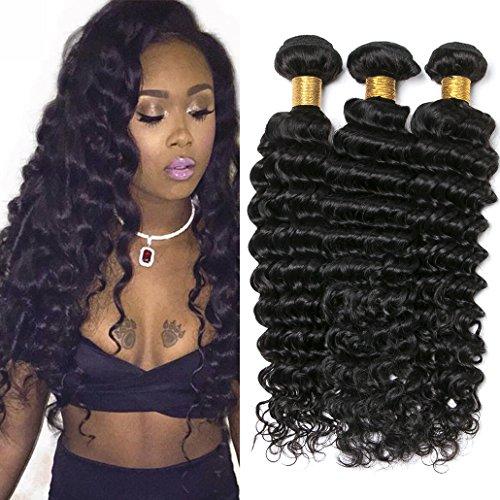 Silkylong produits de cheveux humains non transformés tricotés en 3 touffes cheveux bruts brésiliens ondulés profonds en couleur naturelle de 300g 16 18 20inch