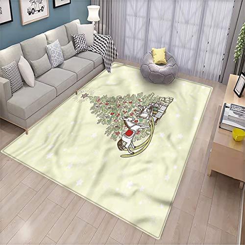 Christmas Office Floor mat Tree with Rocking Horse Indoor and Outdoor Floor mats 6.6'x8'