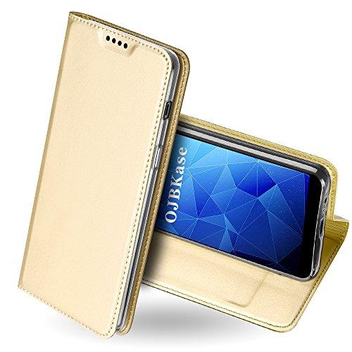 OJBKase Galaxy A6 Plus 2018 Hülle, Premium Slim PU Leder Handy Schutzhülle [Standfunktion] Hülle/Cover/Brieftasche/Ledertasche Tasche Lederhülle Handyhülle für Samsung Galaxy A6 Plus 2018 (Gold)