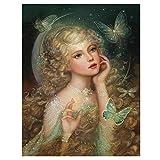 ZXXGA Pintura de Diamante de Imitación Redondos Bordado Abalorios Punto de Cruz Mariposa ángel Hada Duende 5D Mosaico Decoración para el hogar sin Marco 60x45cm