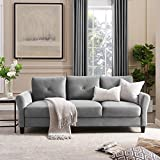 Tribesigns 86'' Sofa Couch, Modern Plush Fabric Upholstered Sofa Couch, 3-Seater Mid-Century Loveseat Sofa for Living Room Small Space (Light Gray)