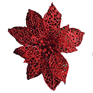 Baost 1Pc Hollow Artificial Poinsettia Wedding Party Christmas Flowers Xmas Tree Ornaments Decorative Silk Flower Poinsettia Fake Flowers DIY Holiday Floral Arrangement Red