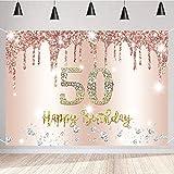 Decoración de cumpleaños para mujer, 50 cumpleaños con manchas de oro rosa brillantes, cartel decorativo para cumpleaños, pancarta para mujer, decoración de cumpleaños para fiesta (happy birthday)