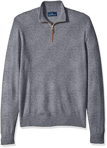 Amazon Brand - BUTTONED DOWN Men's 100% Premium Cashmere Quarter-Zip Sweater, Grey, XX-Large