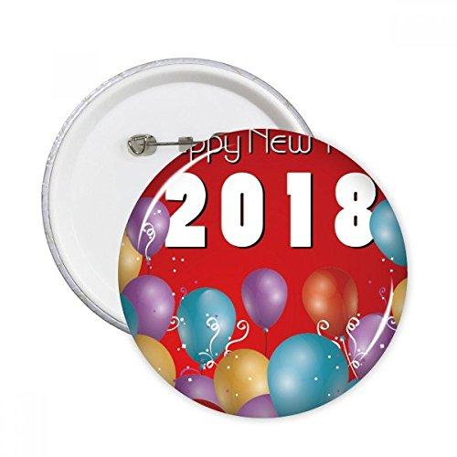 DIYthinker 2018 Ballon Jaar van de hond Gelukkig Nieuwjaar Ronde pinnen Badge Knop Kleding Decoratie 5 Stks Gift M Multi kleuren