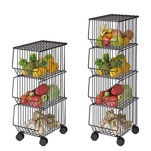 CarolynDesign Soporte para cesta de almacenamiento de 4 niveles con ruedas y cubierta, soporte apilable para cesta de frutas y verduras, estante organizador de aperitivos de alambre de metal