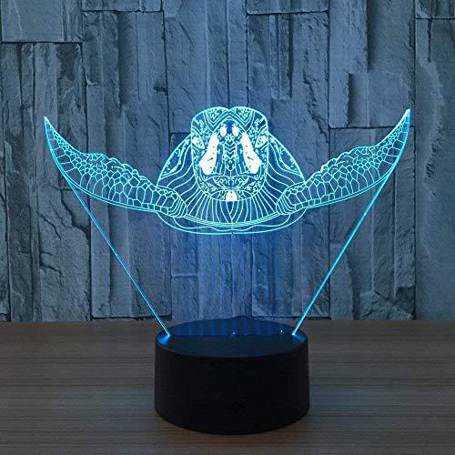 Lámpara De Mesa Táctil 3D Turtle Night Light 3D Slide En 7 Colores, Con Luz Acrílica Plana Y Luz Acrílica.Cargador Usb Basado En Abs Para Regalos De Navidad