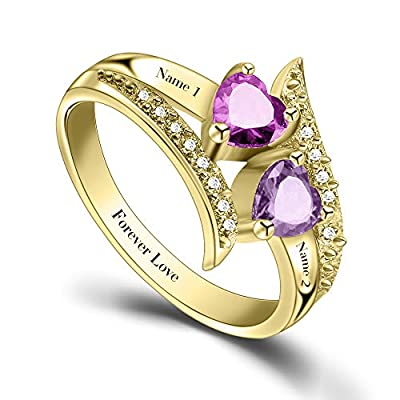 ORFAN Personalized Promise Rings for Her Custom Couples Name Ring for Women Mother Rings with 2 Simulated Birthstones Customized for Her (Gold)