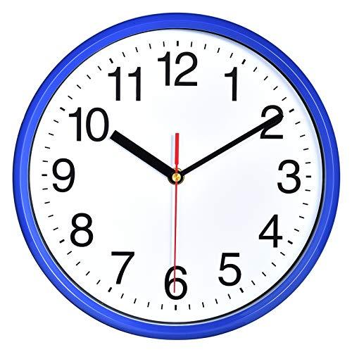 Plumeet 25cm Orologio da Muro Silenzioso con Numero Grandi E Graziosi e Movimento Digitale Senza Ticchettio, Orologi da Parete Design Moderno Ottimo per la Camera da Letto e la Cucina (Blu)
