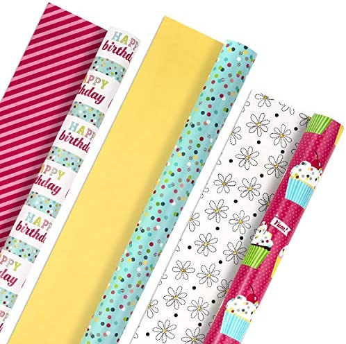 Hallmark All Occasion Reversible Wrapping Paper Bundle Happy Birthday 3 Rolls 75 sq ft ttl Cupcakes product image