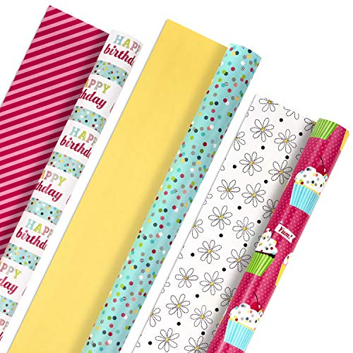 Hallmark All Occasion Reversible Wrapping Paper Bundle - Happy Birthday (3 Rolls - 75 sq. ft. ttl) Cupcakes, Stripes, Flowers, Polka Dots