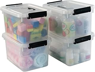 Hommp 5 Liter Clear Storage Box Containers, 4-Pack Plastic Latching Box with Lid