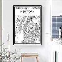 ニューヨーク黒と白地図ポスターミニマリスト交通壁アートパネルアメリカ合衆国都市地図写真北欧帆布絵画インテリアモダン版画生活寝室部屋装飾画