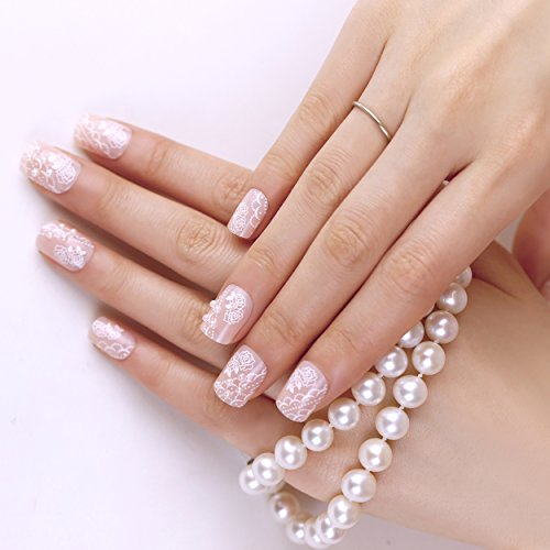 ArtPlus Faux Ongles 24pcs x 4 (4-Pack) Bride Pearls Elegant Touch False Nails with Glue Full Cover Medium Length 4 Boxes in 1 Premium Pack Buy 3 Get 1 Free Fake Nails Art