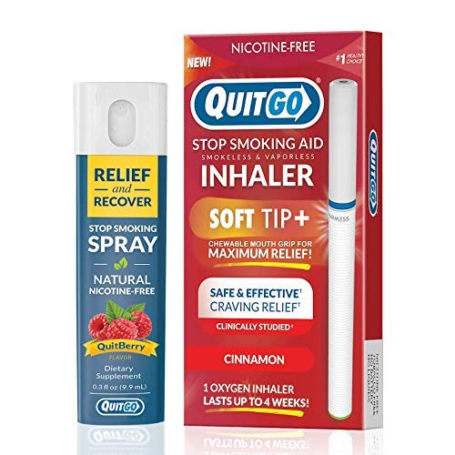 QuitGo Dual Support Quit Kit with Smoke-Free Soft Tip Inhaler, Herbal Relief & Recover Spray to Help Stop Smoking (Cinnamon, Dual Pack)