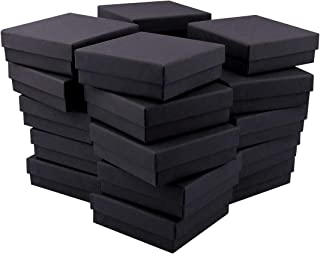 Kraft Ring Box, Sdootjewelry 24 Pack Black Ring Earrings Pendant Bails Gift Box with Cotton Filled, Square Cardboard Jewelry Boxes 3.54 x 3.54x 1.1-inches