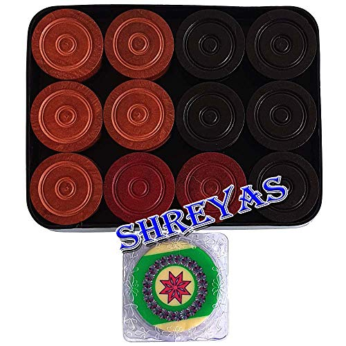 SHREYAS 24 Wooden Carrom Game Coins and Striker Set ,Wooden Checkers (24 Pieces + 1 Striker with Striker Case
