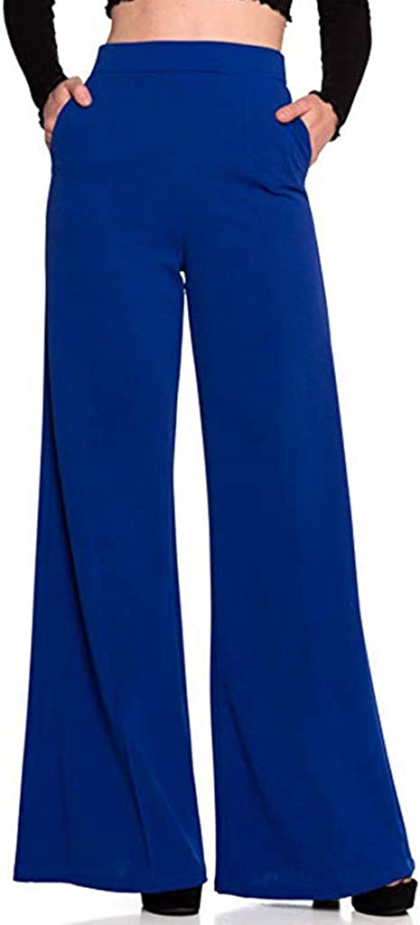 Womens Long Comfy Trousers Loose Straight-Leg Zipper Fly Flowing Palazzo Pants