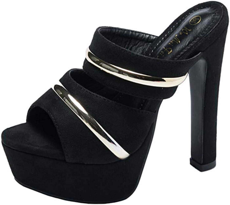 Women's high Heels - Super high Heel Platform Sandals Slippers wear Fashion Wild Women's shoes