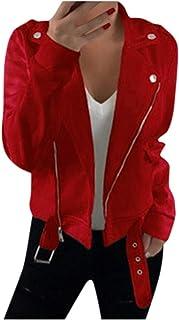 Fankle Sale Moto Biker Jackets for Women Long Sleeve Zipper Notched Lapel Short Slim Cardigan Jacket Coat
