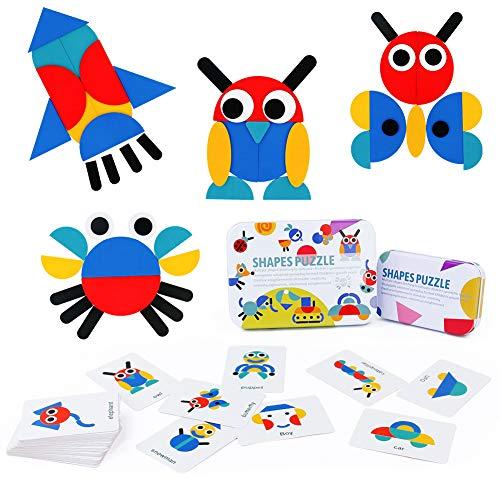 Dinfun Tangram de Madera - Montessori Shapes Puzzle de Madera Juguetes Montessori Juegos Educativos Regalos para Niños 3 4 5 Años( 60 Cartas de Patrones)