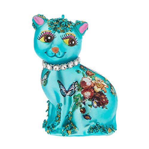 Robert Stanley Glamour Cat Ornament for Christmas Tree   Blue Glass Kitty Xmas Decoration with Butterflies and Roses