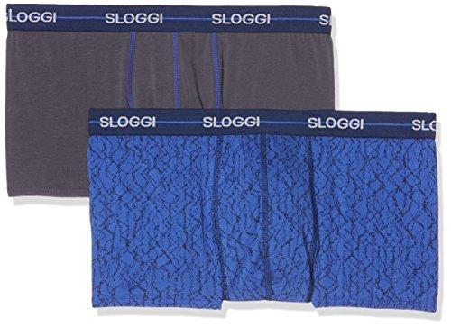 Sloggi Herren Men Start Hipster C2p Badehose, Mehrfarbig (1 Gris + 1 Bleu À Motif), Small (Herstellergröße: 2)