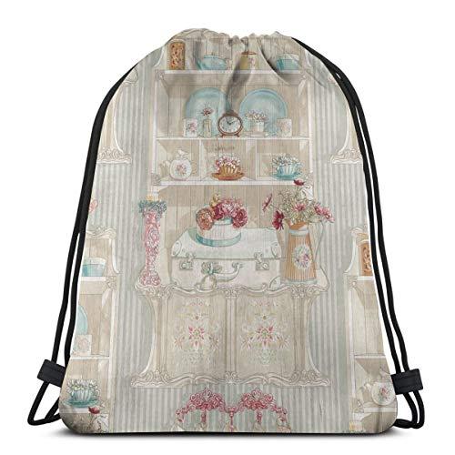 Risating Tasche mit Kordelzug, Motiv: Englische Teetassen, Rucksack, Schwimmtasche, leicht, Sporttasche, mit großer Kapazität, für Fitnessstudio, Reisen, Sport