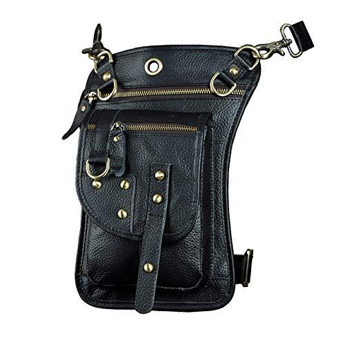 Le'aokuu Hombres de moda bolso al aire libre Cinturón bolso de la cintura Paquete de la cintura de Fanny Bolso de la pierna de la gota Bolso del mensajero del zurriago 2141 (2141 negro)