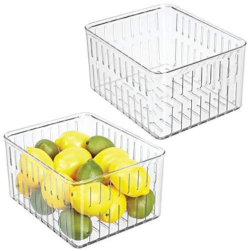 mDesign Set da 2 contenitori alimenti senza coperchio – Grande modello di contenitori in plastica per alimenti di ogni tipo – Contenitore frigo multiuso con aperture laterali – trasparente