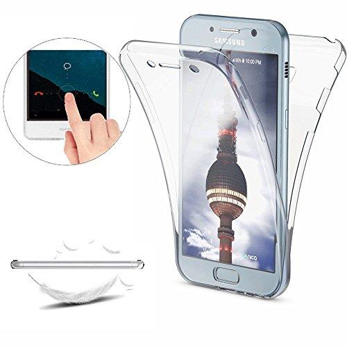 Funda Samsung Galaxy A3 2017 (A320) Carcasas [Cover 360 Grados], Doble Delantera + Trasera Gel Transparente Silicona Integral Shock Absorción Anti Rasguños Anti Choque Bumper Protectora Funda