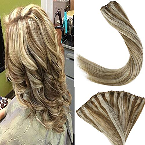 LaaVoo 18 inch 50g Micro Bead Remy Beaded Weft Extensions Human Hair Double Weft Highlight Colorful Light Brown Fading...