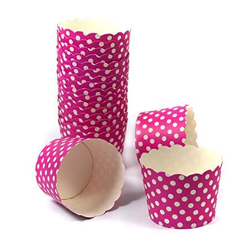 Frau WUNDERVoll® 50 Muffin BACKFORMEN PINK, Weisse Punkte, Durchmesser 5 cm/Muffinbackform, Muffinform, Backformen, Backförmchen, Cupcake Formen, Muffin Förmchen Papier