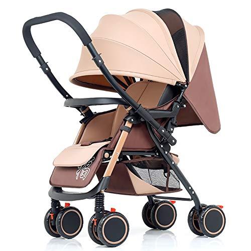 Poussettes JCOCO Baby, Chariot Bébé Léger Pliable Suspension 4 Roues Manche Réversible Poignée Nouveau-Né (Couleur : Kaki)