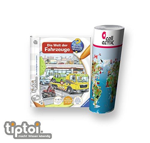 Ravensburger tiptoi ® Die Welt der Fahrzeuge + Kinder Weltkarte - Länder, Tiere, Kontinente