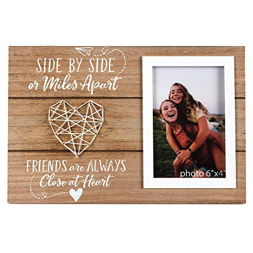 Best Friends Picture Frame Gift - Long Distance Friendship Gifts for BFF - Friend Birthday Gifts for Women, BFF, Bestfriend, Besties - Side by Side Or Miles Apart - 4x6 Inches Cute Photo