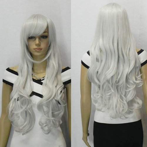 AGPtek 33 inch Heat Resistant Curly Wavy Long Cosplay Halloween Wigs for Women - Silver White
