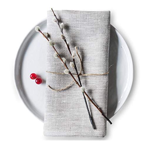 Varvara Home Juego de 6 servilletas de lino – servilletas de tela – servilletas de lino – servilletas de lino natural – ropa de mesa (gris)