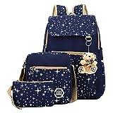 oyfel–a dos en negro lienzo estrellas galaxia con Lunch Box y estuche escolar para niños Garcon niña hombre mujer College escolar deporte moto Ecole Set 3 27 x 44 x 12cm azul oscuro
