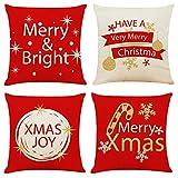 BOYOUTH Feliz Navidad Tema Texto diseño decoración Funda de Almohada Cuadrada, Funda de cojín de sofá de Tela de algodón y Lino, Juego de 4 Piezas, 45 x 45 cm