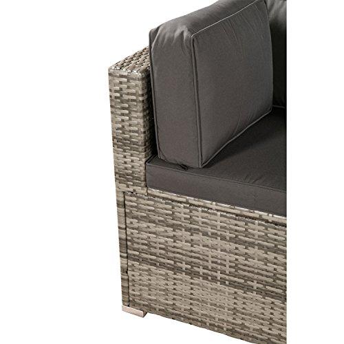 ArtLife Polyrattan Lounge Sitzgruppe Nassau beige-grau mit Bezügen in Dunkelgrau - 4