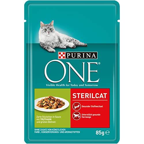 PURINA ONE STERILCAT Katzenfutter nass, zarte Stückchen in Sauce für sterilisierte Katzen, mit Truthahn, 24er Pack (24 x 85g)