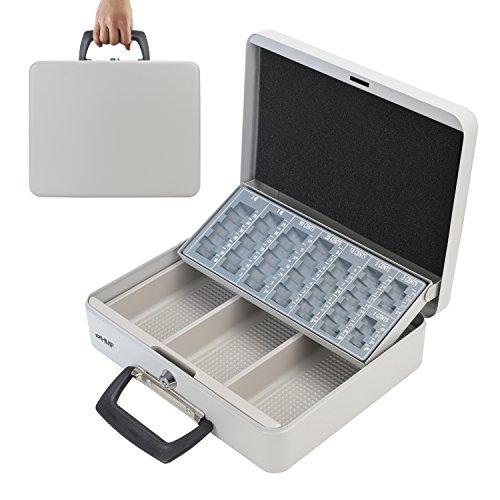 HMF 10016-07 Caja de caudales, para transportar y contar dinero 30 x 24 x 11 cm, gris claro