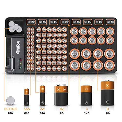 Battery Organizer Storage Case with No Lid Snap, Portable Battery Tester, Just The Right Size Slot with Wall-Mounted Design,Holds 110 Batteries Various Sizes for AAA, AA, 9V, C, D and Butt