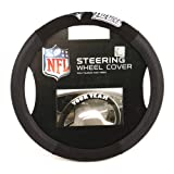 Fremont Die NFL New England Patriots Poly-Suede Steering Wheel Cover, Fits Most Standard Size Steering Wheels, Black/Team Colors