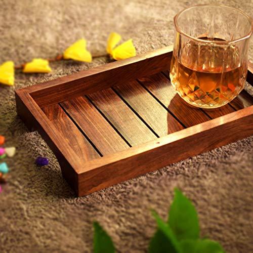 Holz-Serviertablett, Palisander Sheesham Holz Indische Handarbeit für Serviertablett/Esstisch., Palisander, Style 2, 10x6 inch